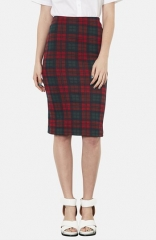 Topshop Check Print Tube Skirt at Nordstrom