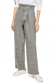 Topshop Check Wide Leg Trousers   Nordstrom at Nordstrom