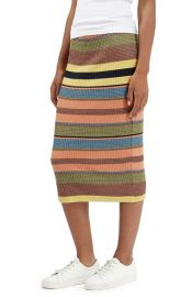 Topshop Chevron Stripe Ribbed Skirt at Nordstrom