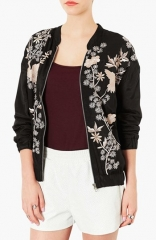 Topshop Chinoiserie Embroidered Bomber Jacket at Nordstrom