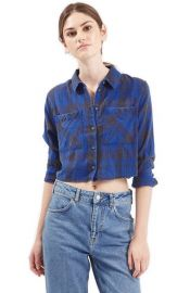 Topshop Chloe Crop Plaid Shirt at Nordstrom