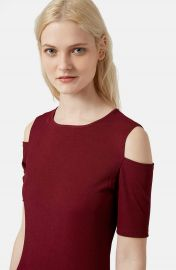 Topshop Cold Shoulder Ribbed Body-Con Dress in Red at Nordstrom