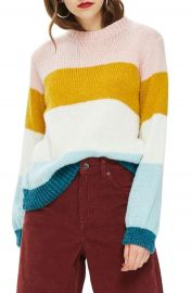 Topshop Colorblock Knit Pullover at Nordstrom