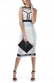 Topshop Colorblock Lace Midi Shift Dress at Nordstrom