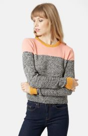 Topshop Colorblock Space Dye Sweater at Nordstrom