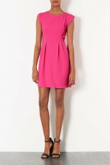 Topshop Crepe Fit andamp Flare Dress in pink at Nordstrom