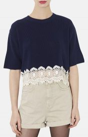Topshop Crocheted Hem Crop Sweater at Nordstrom