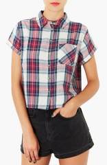 Topshop Crop Plaid Shirt at Nordstrom
