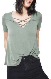 Topshop Cross Neck Tee green at Nordstrom