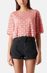 Topshop Daisy Burnout Crop Top at Nordstrom