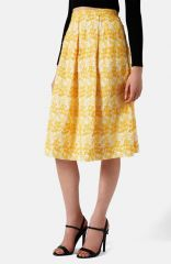 Topshop Daisy Embroidered Pleated Midi Skirt at Nordstrom