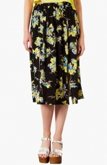 Topshop Dark Floral Midi Skirt at Nordstrom