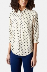 Topshop Diamond Print Woven Shirt at Nordstrom
