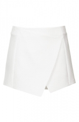 Topshop Diamond Quilted Skort in white at Nordstrom