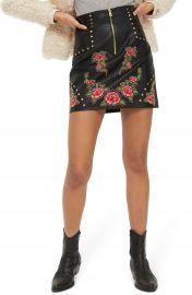 Topshop Embellished Floral Faux Leather Skirt at Nordstrom