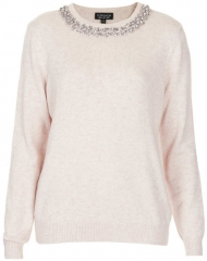 Topshop Embellished Neck Sweater in beige at Nordstrom