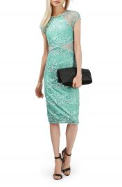 Topshop Fishnet Lace Midi Body-Con Dress at Nordstrom