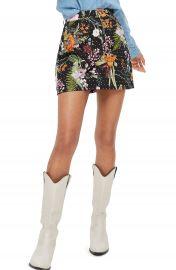 Topshop Floral Crystal Denim Skirt at Nordstrom