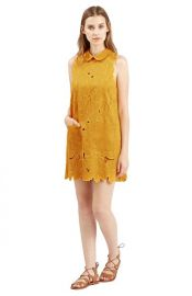 Topshop Floral Cutwork Shift Dress in Mustard at Nordstrom