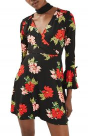 Topshop Floral Flute Sleeve Skater Dress at Nordstrom