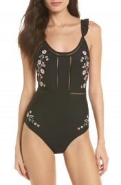 Topshop Floral Frill Embroidered One-Piece Swimsuit at Nordstrom