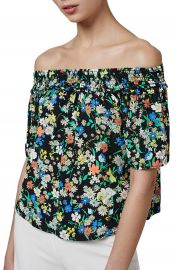 Topshop Floral Print Off the Shoulder Blouse at Nordstrom