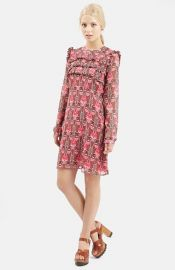 Topshop Floral Print Ruffle Dress at Nordstrom