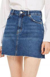 Topshop Frayed Hem Denim Miniskirt at Nordstrom