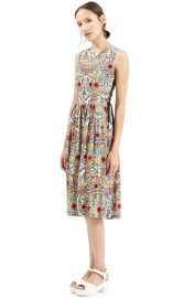 Topshop Garden Lace-Up Midi Dress in Cream Multi at Nordstrom