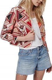 Topshop Geo Embroidered Jacquard Jacket at Nordstrom