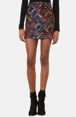 Topshop Geo Print Quilted Miniskirt at Nordstrom