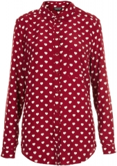 Topshop Heart Print Marocain Shirt in red at Nordstrom