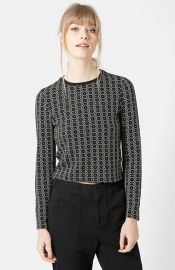Topshop Hexagon Print Long Sleeve Top at Nordstrom