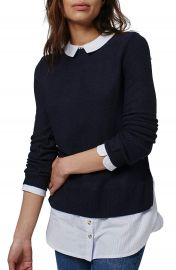 Topshop Hybrid Stripe Trim Sweater at Nordstrom