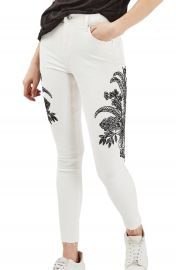 Topshop Jamie Floral Embroidered Jeans at Nordstrom