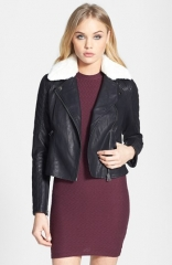 Topshop Jenson Faux Fur Collar Biker Jacket at Nordstrom
