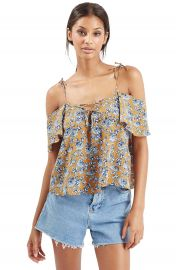 Topshop Lace-Up Front Bardot Top at Nordstrom