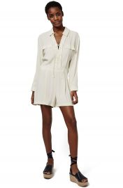 Topshop Lace-Up Long Sleeve Romper at Nordstrom