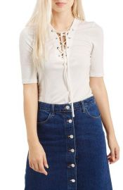 Topshop Lace-Up Short Sleeve Crop Top in white at Nordstrom