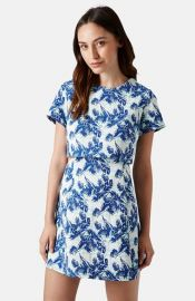 Topshop Leaf Print Crop Overlay Dress at Nordstrom