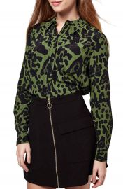 Topshop Leopard Print Button Front Shirt at Nordstrom