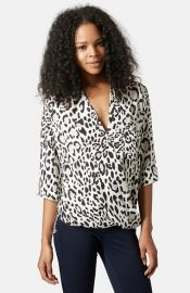 Topshop Leopard Print Surplice Top at Nordstrom