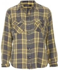 Topshop Maggie Santorini Check Print Shirt in Yellow at Nordstrom