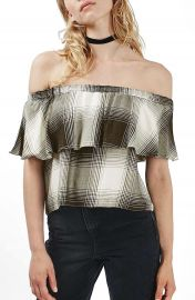 Topshop Monochrome Check Bardot Top at Nordstrom