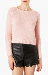 Topshop Monster Fluffy Crop Sweater in pink at Nordstrom