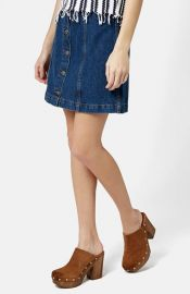 Topshop Moto Button Front Denim Miniskirt at Nordstrom
