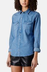 Topshop Moto Fitted Western Denim Shirt at Nordstrom