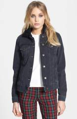 Topshop Moto Fleece Collar Denim Jacket at Nordstrom