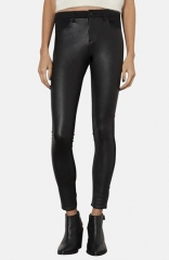 Topshop Moto Leigh Faux Leather Front Skinny Jeans at Nordstrom