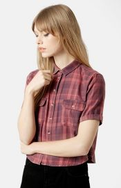 Topshop Moto Plaid Crop Shirt at Nordstrom
